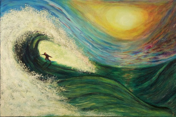 Surf, Painting, Acrylic, Abstract, Realism