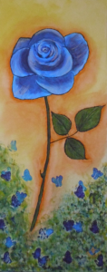 Blue Rose & Butterflies