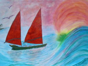 """24 x 36"""" Traditional wrap on canvas. Acrylic, Sold, commissioned by a Doctor for his home, his dream is to have a Freedom 40 and sail to a far off island with his wife, (including the 'green flash'.)"""