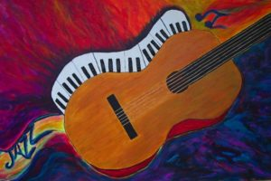 """24 x 36"""" Traditional wrap on canvas. Acrylic 3-D. Sold to a musician."""